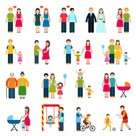 Illustration pour Family figures icons set with married couple children and parents isolated vector illustration - image libre de droit