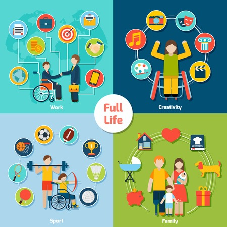 Disabled life design concept set with work creativity sport family flat icons isolated vector illustration