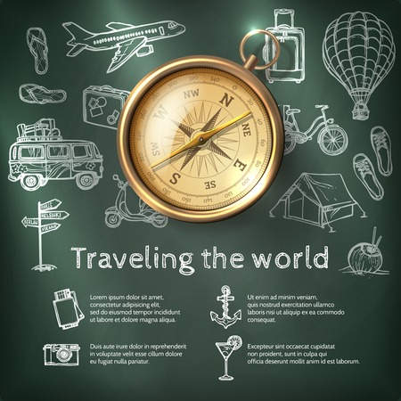 Illustration pour World travel poster with compass and tourism and holiday chalkboard elements vector illustration - image libre de droit