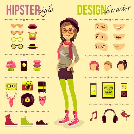 Ilustración de Hipster girl set with fashion accessory customizable elements isolated vector illustration - Imagen libre de derechos