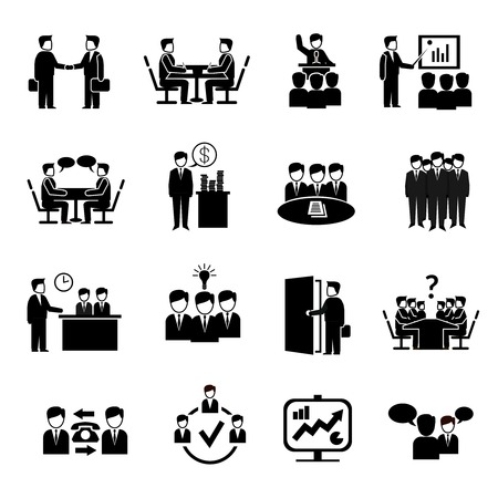 Illustration for Meeting icons set with business people discussion management brainstorming symbols isolated vector illustration - Royalty Free Image