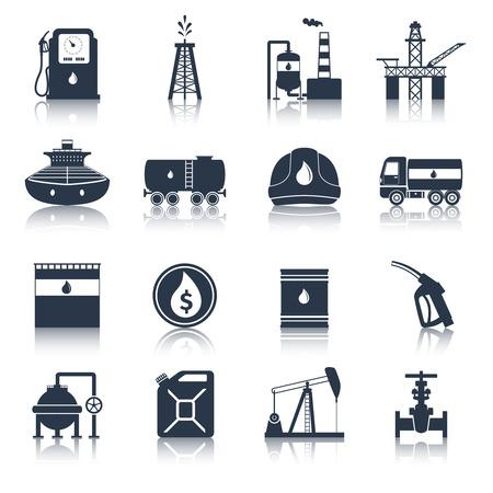 Illustration pour Oil industry diesel canister fuel tanker gas terminal icons black set isolated vector illustration - image libre de droit