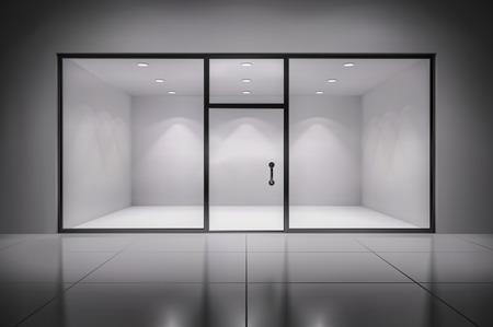 Illustration pour Empty illuminated store exposition interior realistic background vector illustration - image libre de droit