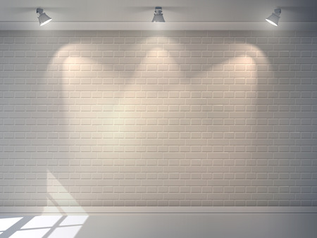 Ilustración de Realistic 3d brick wall with projectors studio interior background vector illustration - Imagen libre de derechos