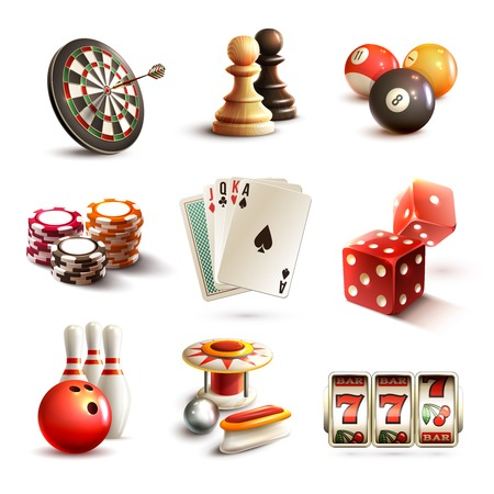 Illustration pour Game realistic icons set with casino sport and leisure games isolated vector illustration - image libre de droit