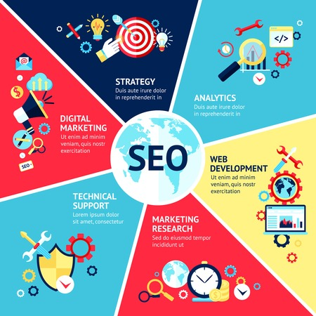 Ilustración de Seo infographic set with strategy analytics technical support web development symbols vector illustration - Imagen libre de derechos