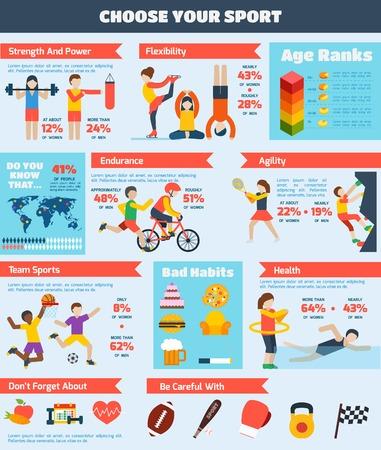 Ilustración de Sports infographics set with people training healthy physical activity charts vector illustration - Imagen libre de derechos