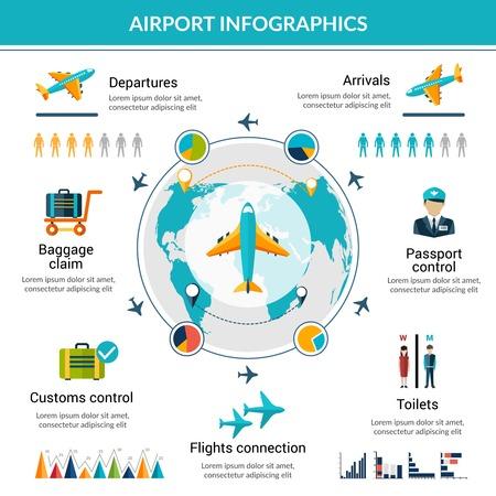 Illustration pour Airport infographic set with security control air vehicle symbols and charts vector illustration - image libre de droit