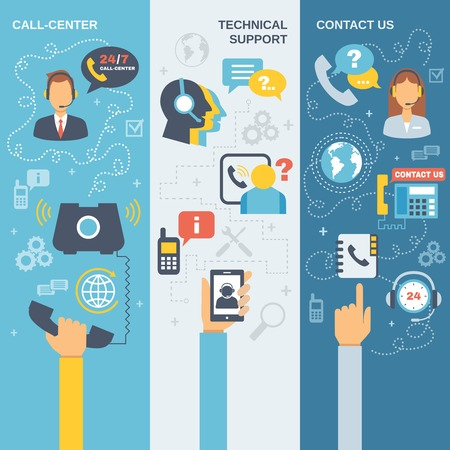 Illustration pour Technical support call center contact us flat vertical banner set isolated vector illustration - image libre de droit