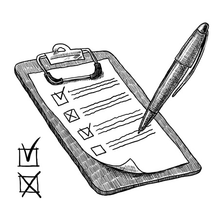 Illustration pour Clipboard with check list questionnaire checkboxes and pen sketch vector illustration - image libre de droit