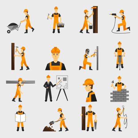 Illustration pour Construction worker character building with hand hammer drill in helmet flat icons set abstract isolated vector illustration - image libre de droit