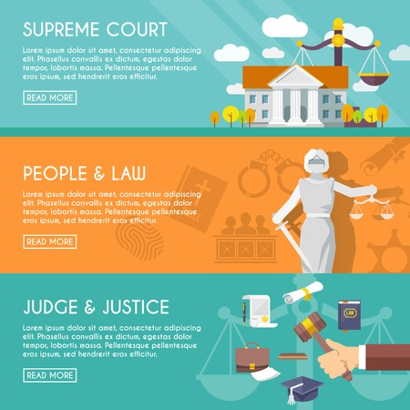 Illustration pour Supreme court judge and blindfolded justice with sword and scales people law flat horizontal banners vector illustration - image libre de droit