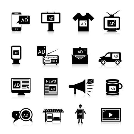 Ilustración de Advertising icons black set with multimedia propaganda publication isolated vector illustration - Imagen libre de derechos
