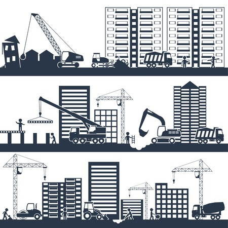 Illustration pour Construction industrial composition black with building machinery and people working vector illustration - image libre de droit