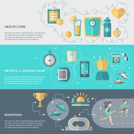 Ilustración de Jogging banner horizontal set with health care metrics marathon elements isolated vector illustration - Imagen libre de derechos