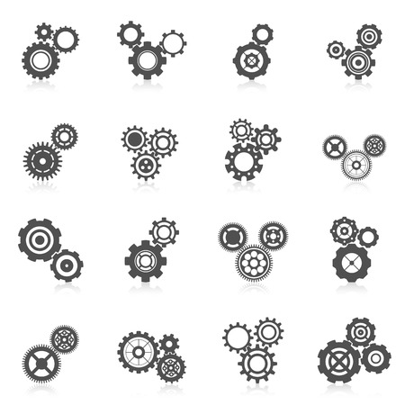 Illustration pour Cog wheel gear mechanic and engineering black icon set isolated vector illustration - image libre de droit