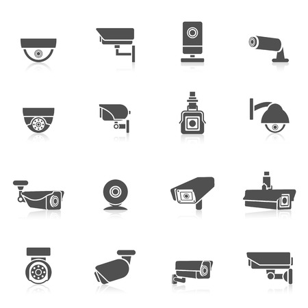 Illustration pour Security camera private safety security control electronic black icons set isolated vector illustration - image libre de droit