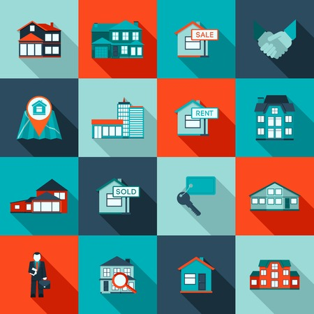 Illustrazione per Real estate house residential apartment icon flat set isolated vector illustration - Immagini Royalty Free