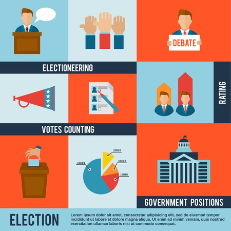 Illustration pour Election votes counting debate and rating icon flat set isolated vector illustration - image libre de droit