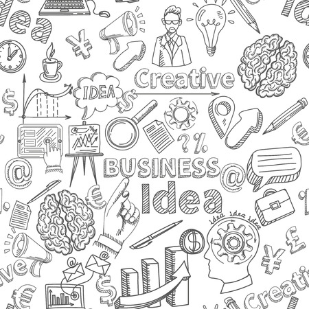 Illustration pour Creative background seamless pattern with business idea symbols vector illustration - image libre de droit