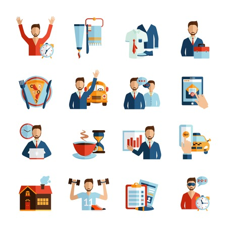 Illustration pour Man daily routine icons set day work and rest life schedule isolated vector illustration - image libre de droit