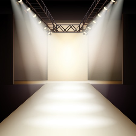 Foto de Empty fashion runway podium stage interior realistic background vector illustration - Imagen libre de derechos