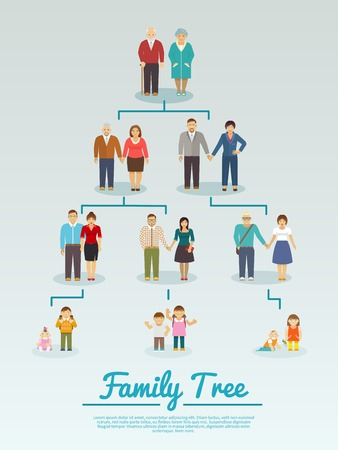 Illustration pour Family tree with people avatars of four generations flat vector illustration - image libre de droit