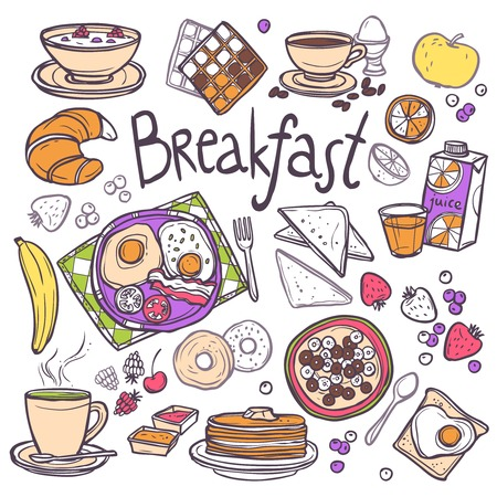 Illustration for Breakfast decorative sketch icons set with fried eggs toasts cereals orange juice isolated vector illustration - Royalty Free Image
