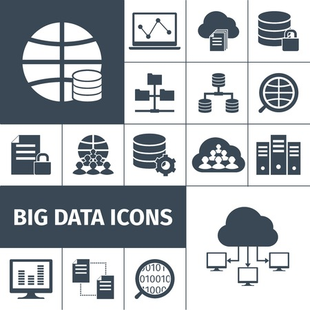 Illustration pour Big data secure transmitting processing accumulating computers international network symbols icons collection black graphic vector isolated illustration - image libre de droit
