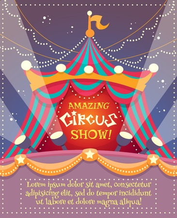 Illustration pour Circus vintage poster with tent and amazing circus show text vector illustration - image libre de droit