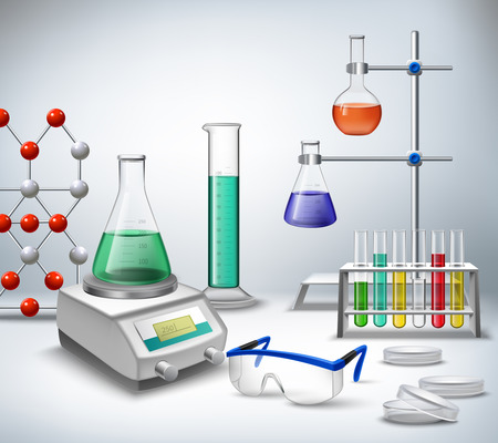 Illustration pour Science chemical and medical research equipment in lab realistic background vector illustration - image libre de droit