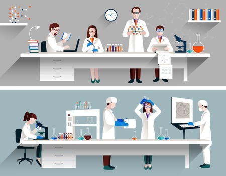 Ilustración de Scientists in lab concept with males and females making research vector illustration - Imagen libre de derechos
