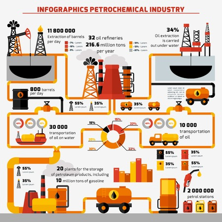 Illustration pour Oil industry extraction processing and transportation infographics set with charts vector illustration - image libre de droit