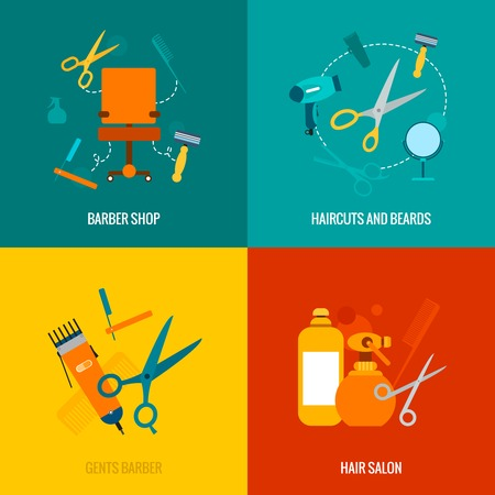 Illustration for Barber shop 4 flat icons of haircut and beards neckline trimming service composition abstract isolated vector illustration - Royalty Free Image