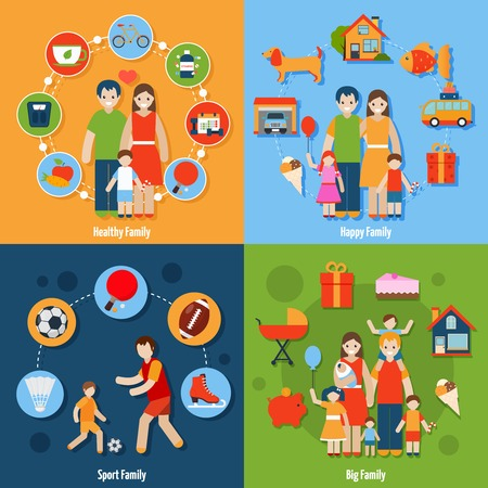 Family design concept set with healthy happy sport people icons isolated vector illustration