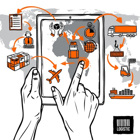 Illustration pour Logistic sketch concept with hand holding digital tablet shipping icons and world map vector illustration - image libre de droit