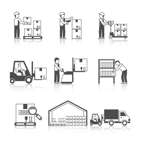 Foto de Warehouse icon black set with transportation and delivery service stock workers isolated vector illustration - Imagen libre de derechos
