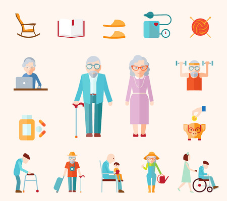 Ilustración de Senior lifestyle flat icons set with elderly family couple isolated vector illustration - Imagen libre de derechos