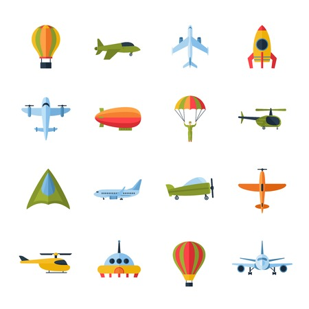 Illustration pour Aircraft civil and army cargo transport flat icons set with helicopter jetliner parachute abstract isolated vector illustration - image libre de droit