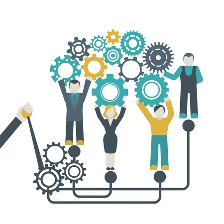 Illustration for Teamwork company organization concept with people holding cog wheels vector illustration - Royalty Free Image