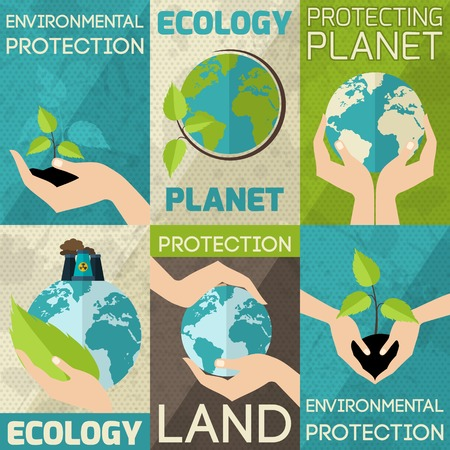 Illustration for Hand hold plants and globe environmental protection mini poster set isolated vector illustration - Royalty Free Image