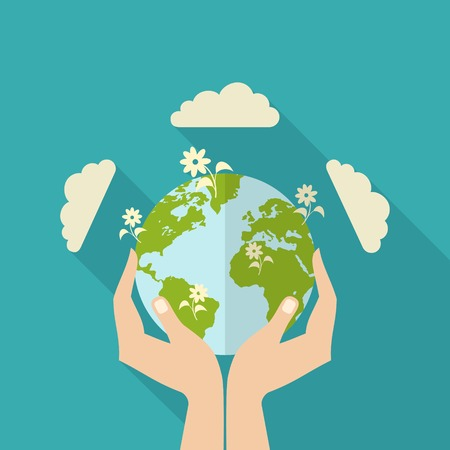 Illustration for Human hands holding globe with flowers on it environmental care and social responsibility flat poster vector illustration - Royalty Free Image