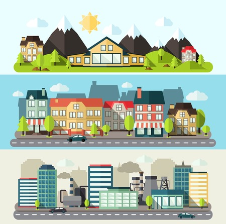 Illustration pour Industrial downtown and urban city horizontal banner flat set isolated vector illustration - image libre de droit
