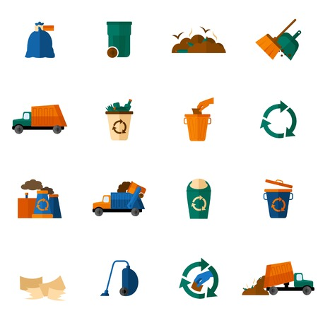 Illustration pour Garbage icons flat set with trash bin cleaning bulldozer isolated vector illustration - image libre de droit