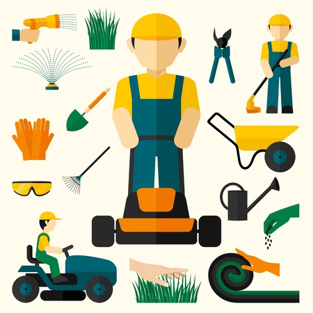 Illustration pour Man with lawn mower and garden equipment decorative icons set isolated vector illustration - image libre de droit