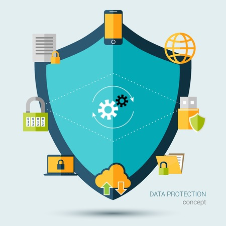 Illustration pour Data protection concept with shield and information security symbols vector illustration - image libre de droit