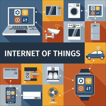 Ilustración de Internet of things computer and smart watch  remote control flat icons composition poster abstract isolated vector illustration - Imagen libre de derechos