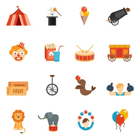 Illustration pour Circus performance icon flat set with tent clown rabbit in hat isolated vector illustration - image libre de droit