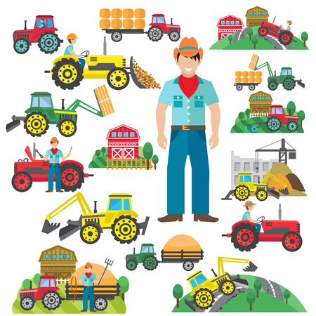 Illustration pour Farm tractor and industrial excavator driver icons set flat isolated vector illustration - image libre de droit