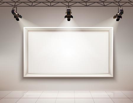 Ilustración de Gallery room interior with blank picture frame illuminated with spotlights realistic 3d vector illustration - Imagen libre de derechos
